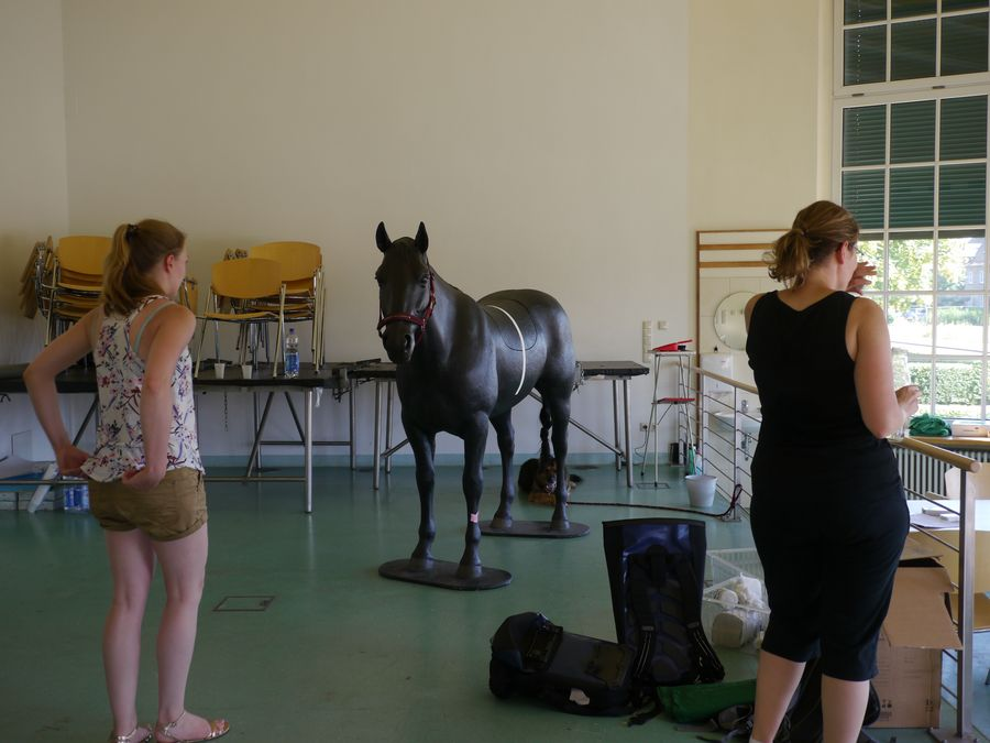 view into the new location where two persons are standing next to a life-size equine colic simulator